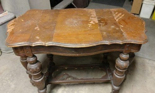 Antique-Table-Before-Restoration - Wood Reviver Wood Furniture Repair Service Saginaw MI